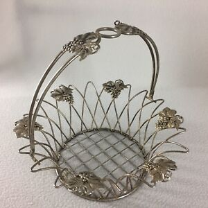 """Silver Plated Wire Basket With Handle Grapes Leaves Accent 11"""" x 4"""" Distressed"""
