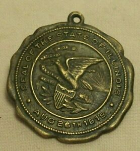 1868~SEAL OF THE STATE OF ILLINOIS~50th ANNIVERSARY WATCH FOB~14K GOLD PLATED~