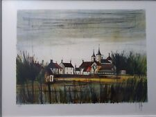 """Bernard Buffet style, V Beffa, Lithograph,"""" The Village"""", Hand Signed, Numbered."""