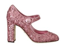 DOLCE & GABBANA Shoes Leather Pink Sequined Mary Janes EU36.5 / US6 RRP $700