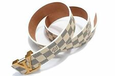 "Fashion Belt Classic WHITE Chess Grid W Gold Buckle 38 40"" 120Cm FREE SHIPPING"