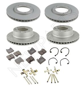 For Porsche 911 Front and Rear Brake Disc Rotors Pads with Sensor & Hardware Kit