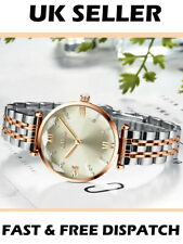 Civo Luxury Rose Gold & Silver Designer Diamond Shaped Women's Watch Elegant