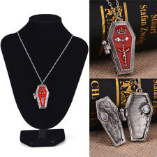 Halloween Gothic Vampire Bat Cross Coffin Alloy Pendant Necklace  Retro Jewelry