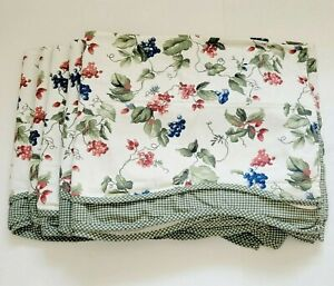 (5) Waverly ORCHARD TRAIL BERRY Fairfield Valances Green Gingham Scalloped Grape
