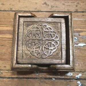 Wooden Coasters Set of 6 with Celtic Pattern Carving
