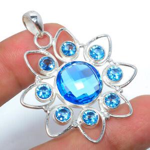 "Blue Topaz Gemstone 925 Sterling Silver Handmade Jewelry Pendant 1.91"" T3072"