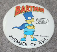 "Vtg•1989 Bart Simpson BARTMAN 6"" Pin Button-Up 80s Avenger of Evil 90s Simpsons"