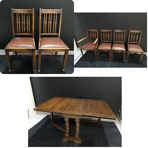 Extending Dining Table With 6 Chairs Gateleg Folding Carved vintage Antique