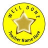 Well Done Star School Stickers, Personalised Teacher Name or School 24 Labels