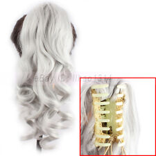 Women's Hair Ponytail Extensions Claw Pigtail Heat Resistant Long Curly Silver ~