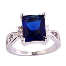 VINTAGE INSPIRED 18K WHITE GOLD PLATED GENUINE SAPPHIRE BLUE CUBIC ZIRCONIA RING