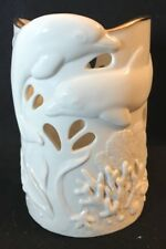 "Lenox Fine Ivory China ~ Dolphins' Undersea Discovery ~ 6"" Pillar Candle Holder"