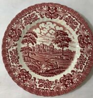 (2) Olde Country Castles Red Salad Plates Ironstone British Anchor England