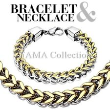 FAMA Box Weave Gold IP Chain Link Stainless Steel Bracelet & Necklace Combo Set