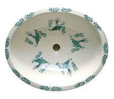 #085 MEDIUM BATHROOM SINK 17X14 MEXICAN CERAMIC HAND PAINT DROP IN UNDERMOUNT