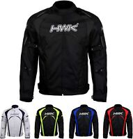 HWK Men's Riding Jacket Textile Racing Jacket Hi-Vis Biker Waterproof CE Armored