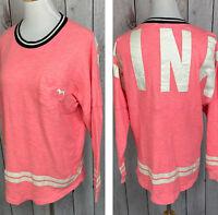 Pink Victorias Secret Size S Crew Neck Oversized Pocket Sweater Pink White Black