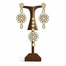 Indian Bollywood Fashion Ethnic Gold Plated Earrings Mang Tika Set Women Jewelry