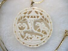 Vintage Large Delicate Faux Bone Carved Pendant On Gold Toned Chain Ivory Color