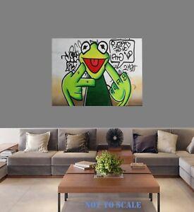 "framed canvas art print frog naughty street graffiti wall decor 30"" x 24"""