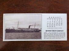 1949 Canada Steamship Lines Huronic Cruise Ship Blotter Ad Detroit Trust Company