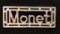 Vintage Monet Gold Tone Bar Modernist Style Brooch Pin Signed