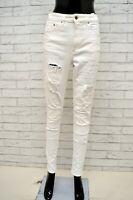 Jeans H&M Donna Taglia Size 29 Pantalone Pants Trousers Woman Bianco Cotone Slim
