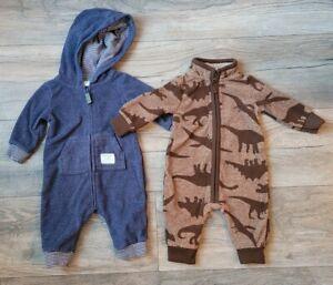 Baby 3M Carter's Boy  Dinosaur Blue & Brown One Piece Footie Sleeper GUC