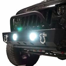 LED Fog Lamp Set for Jeep Wrangler JK with White Halo Ring DRL Function