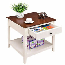 Wood Side Table End Table Night Stand Coffee Table with Drawer & Shelf Square