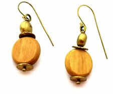 "MADE 2.5"" Kenya Handmade DROP EARRINGS Natural Wood Brass Gold Tone Chain"