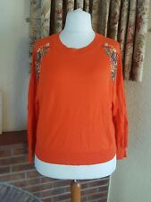 ORANGE OVERSIZED FINE KNIT EMBROIDERED JUMPER BY ZARA - ECO COTTON - 12 14 16 18