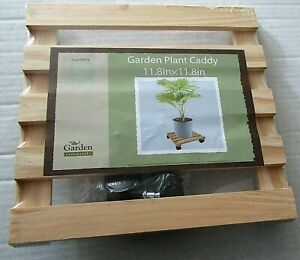"""WOODEN GARDEN PLANT CADDY 11.8"""" X 11.8"""" W/ 4 CASTERS"""