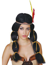 Pocahontas Red Indian Squaw Black Princess Wig Fancy Dress Party Native American