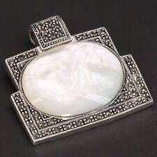Mother of Pearl Slider Pendant - 21g Vtg Sterling Silver - Art Deco Marcasite &