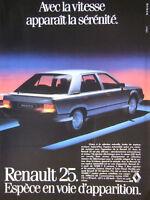 PUBLICITÉ DE PRESSE 1983 RENAULT 25 CX V6 INJECTION ESPECE EN VOIE D'APPARITION