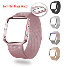 Mesh Stainless Steel Strap Wrist Magnet Band Metal Frame For Fitbit Blaze Watch