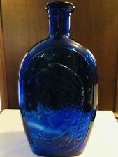COBALT BLUE BOTTLE WITH AN EAGLE AND HUMAN FIGURE - PRICE REDUCED