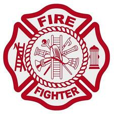 "Fire Fighter Reflective Red Maltese Cross Firefighter Decal Sticker 3"" approx."