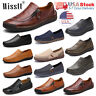 Mens Hand Stitching Retro Leather Casual Shoes Driving Loafers Slip on Moccasins