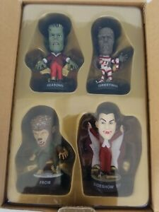 RARE! UNIVERSAL MONSTERS 2001 SIDESHOW COLLECTIBLES SEASON GREETING STATUES NEW