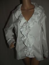 ef93077ce9 ASHLEY STEWART 12 WHITE COTTON RUFFLE V-NECK Zipper FRONT SHIRT top blouse