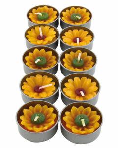 SUNFLOWER TEALIGHTS pk of 10 candles YELLOW handmade fair trade NEW!