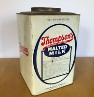 VINTAGE LARGE THOMPSONS MALTED MILK TIN BORDEN METAL CAN advertising rustic farm