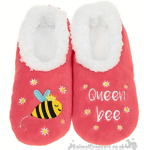 Ladies Snoozies 'Queen Bee' Pink Cosy washable Slippers Honey Bee lover gift