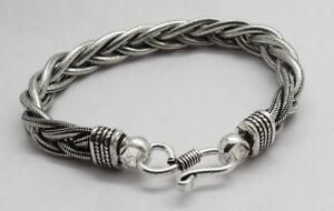 1 Piece Silver Bracelets Bali Silver Snake Chain Braided Bracelet 7.5 Inch Long