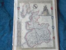 1 REPRODUCTION HISTORICAL COUNTY MAP COLOURED PRINT OF LANCASHIRE- UNFRAMED-