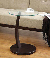 ROUND SNACK TABLE WITH STURDY GLASS TOP AND WOOD CAPPUCCINO FINISH BASE