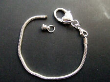 1pz base per bracciale  20cmx3mm  color argento con moschettone cuore